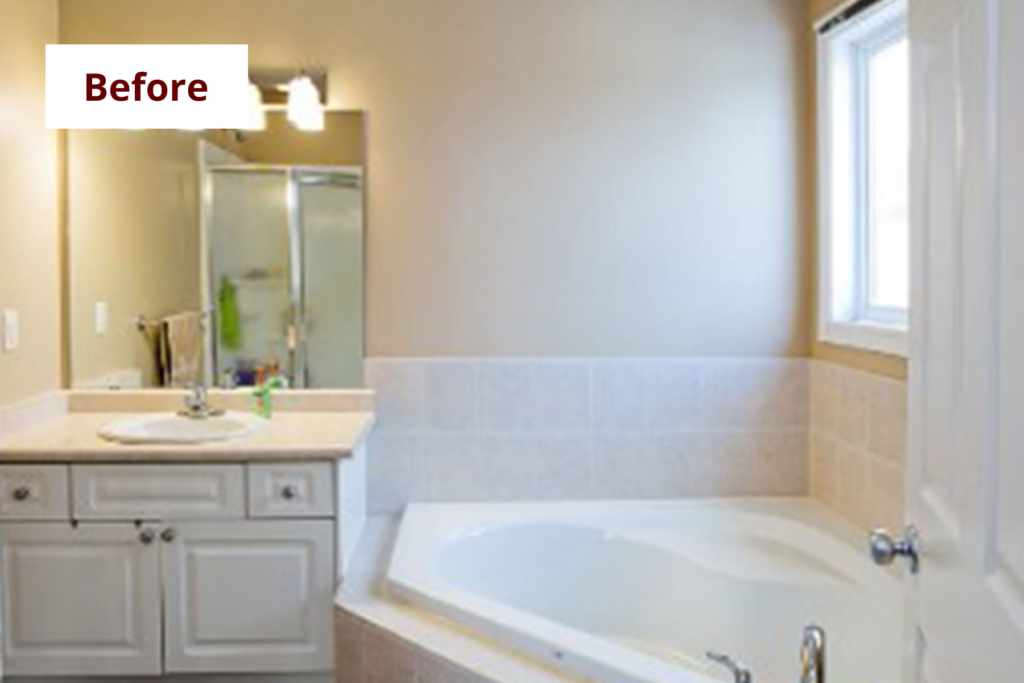 Bathroom Interior Decorating: Home Staging Before & After | Pre-Staged Bathroom | MatiDesign Interior Decorating And Home Staging London Ontario